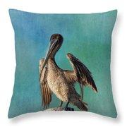 Brown Pelican - Fort Myers Beach Throw Pillow