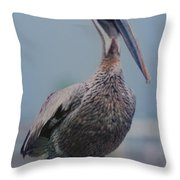 Brown Pelican On The Dais Throw Pillow