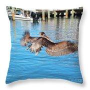 Brown Pelican Taking Flight Throw Pillow