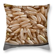 Brown Rice In Bowl Throw Pillow by Steve Gadomski