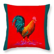 Brown Rooster On Red Background Throw Pillow