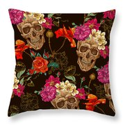 Brown Skulls And Flowers Throw Pillow