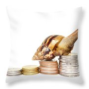 Brown Snail Climbing To The Top Of The Pile Of Coins  Throw Pillow