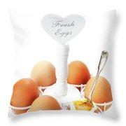 Brown Soft Boiled Eggs  Throw Pillow