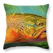 Brown Trout Portrait  Throw Pillow