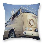 Brown Vw T2 Camper Van Throw Pillow