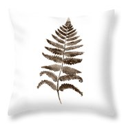 Fern Leaf Botanical Poster, Brown Wall Decor Modern Home Art Print, Abstract Watercolor Painting Throw Pillow