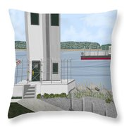 Browns Point Lighthouse On Commencement Bay Throw Pillow