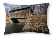 Brownsville Covered Bridge - Brownsville Vermont Throw Pillow