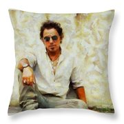Bruce Springsteen Throw Pillow by Elizabeth Coats