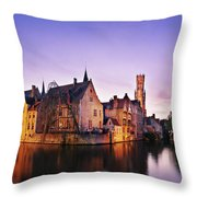 Bruges At Dusk Throw Pillow by Barry O Carroll