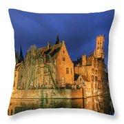 Bruges At Night, Belgium Throw Pillow