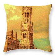 Bruges Belgium Belfry - Dwp2611371 Throw Pillow