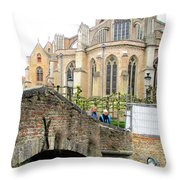 Bruges Bridge 3 Throw Pillow