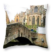 Bruges Bridge 4 Throw Pillow