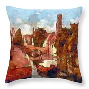 Bruges Canal View Throw Pillow