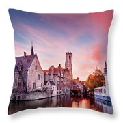 Bruges Sunset Throw Pillow by Barry O Carroll