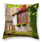 Bruge Canal Throw Pillow