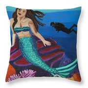 Brunette Mermaid With Turquoise Tail Throw Pillow