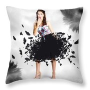 Brunette Pin-up Woman In Gorgeous Feather Skirt Throw Pillow