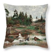 Bruno Liljefors,   Landscape From Uppland. 2 Throw Pillow