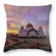 Brush Stroke Cloud Over Selat Mosque Throw Pillow