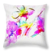 Brushed Abstract Flowers Throw Pillow