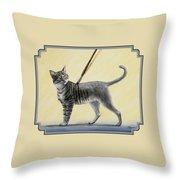 Brushing The Cat - No. 2 Throw Pillow