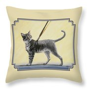 Brushing The Cat - No. 2 Throw Pillow by Crista Forest
