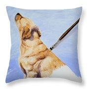 Brushing The Dog Throw Pillow