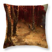 Brushwood Collector Bordering The Woods Throw Pillow