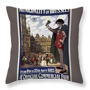 Brussels Commercial Fair Poster - Retro Poster - Vintage Travel Advertising Poster Throw Pillow