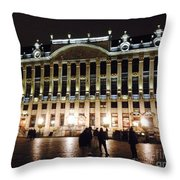 Brussels Lights At Plaza Throw Pillow