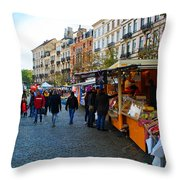 Brussels Market Throw Pillow