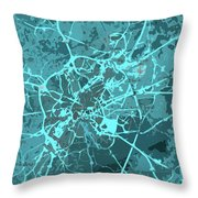Brussels Traffic Abstract Blue Map And Cyan Throw Pillow