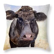 Brutus - Black Angus Cattle Throw Pillow