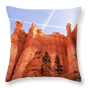 Bryce Canyon Hoodoos With Contrails Throw Pillow