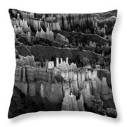 Bryce Canyon In Black And White Throw Pillow