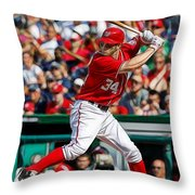 Bryce Harper Washington Nationals Throw Pillow