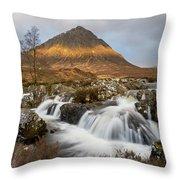 Buachaille Etive Waterfalls Throw Pillow