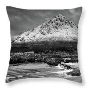 Buachaille Winter Panorama Mono Throw Pillow