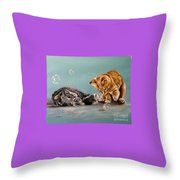Bubble Cats Throw Pillow