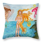 Bubblegum Angel And The Birth Of Venus Throw Pillow