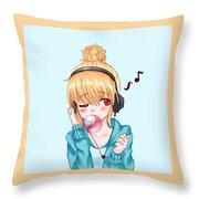 Bubblegum Girl Throw Pillow