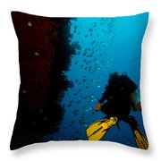 Bubbles And Butterfly Fish Throw Pillow