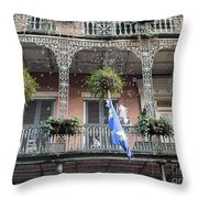 Bubbles Blow From An Ornate Balcony In New Orleans At Mardi Gras Throw Pillow