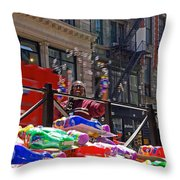 Bubble Gun Seller In New York Throw Pillow