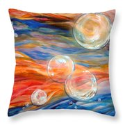 Bubbles In Tumult Throw Pillow