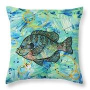 Bubbles 'n Bluegill Throw Pillow