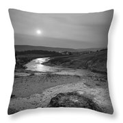 Bubbling Hot Spring In Yellowstone National Park Bw Throw Pillow